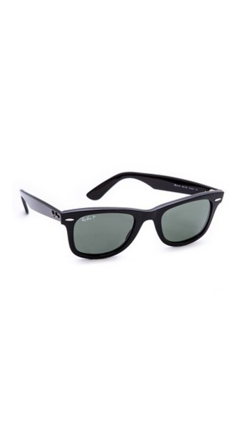 Ray-Ban Polarized Wayfarer Sunglasses - Black/Green Polar
