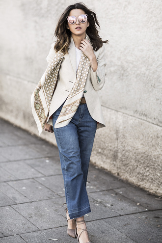 lovely pepa blogger beige jacket mom jeans nude heels printed scarf office outfits pink sunglasses mirrored sunglasses silk scarf cropped jeans