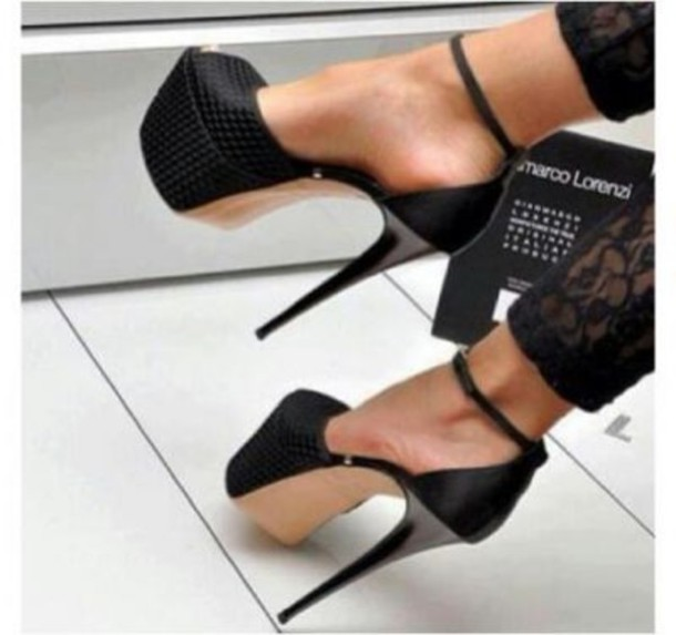 Shoes: black high heels, t-strap peep toe d'orsay platform ...