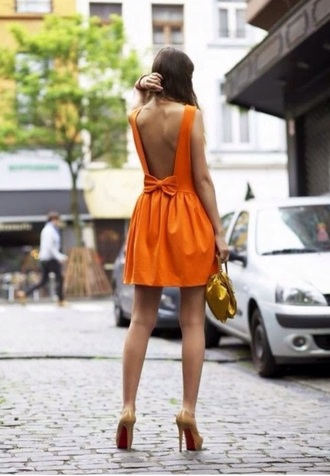dress backless dress orange dress bow back dress