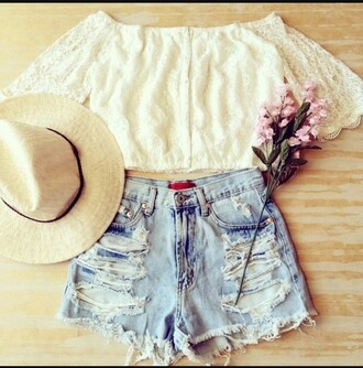blouse crop tops white top jeans ripped shorts white lace top off the shoulder outfit summer girly summer outfits outfit idea