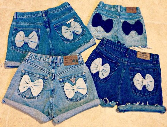 bows shorts blue jeans high waisted short pockets aeo diy