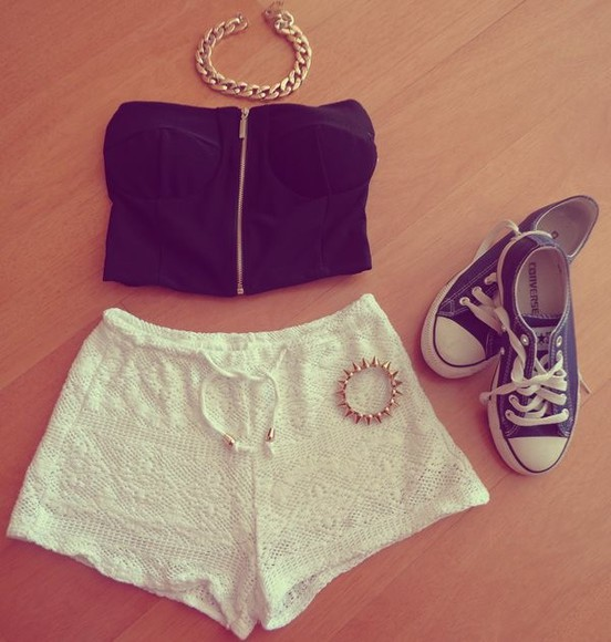 tank top crop tops shorts blouse top nail polish bralet necklace collar bracelet trainers white shorts jewels