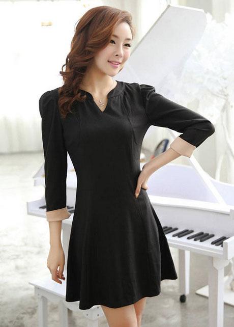 Cheap Charming V Neck Puff Sleeve Black Empire Waist Dress in women dress from women clothing on sightface.com