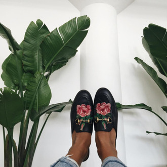 shoes tumblr black shorts gucci gucci shoes gucci princetown embroidered floral