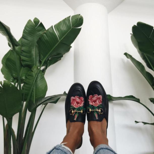 15030e3dfd4 Et shoes tumblr black shorts gucci shoes gucci princetown embroidered floral  jpg 610x610 Princetown floral