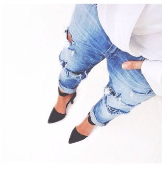 jeans blue jeans ripped jeans high heels light blue jeans