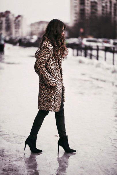 acid coke blogger coat leopard print shoes fur leopard print winter coat fur coat pants black pants boots winter outfits winter coat winter look high heels boots black boots ankle boots