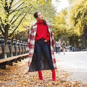coat,tumblr,plaid coat,red coat,sweater,red sweater,knit,knitted sweater,denim,jeans,blue jeans,boots,red boots