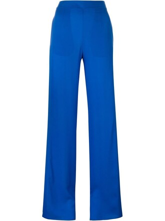 women blue silk pants