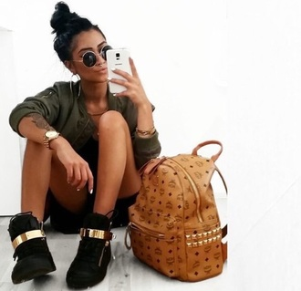 jacket military green jacket black shoes gold chain bag