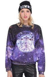sweater,romwe,sweatshirt,clothes,galaxy print,galaxy shirt,starbucks coffee,oversized sweater,winter sweater,cute sweaters,benie,beanie,black beanie,black,skinny pants,pants,cute