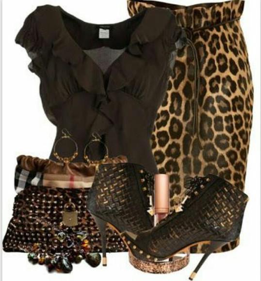 skirt shoes blouse animal print