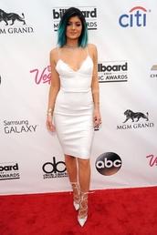 white dress,kylie jenner,midi dress,white leather dress,dress,kylie jenner dress,white,kardashians