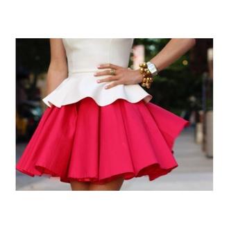 top peplum cream cute bright skirt