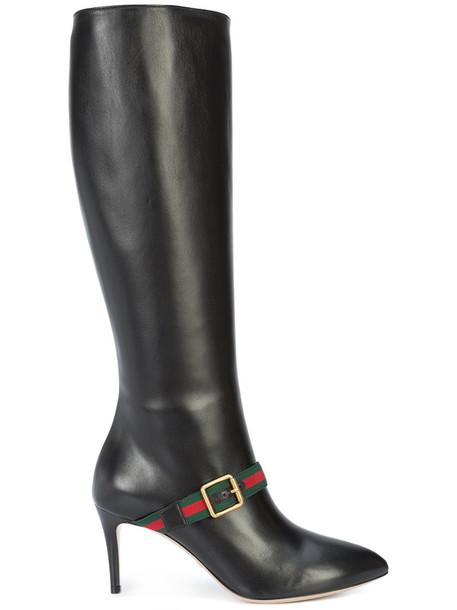 gucci women leather black shoes