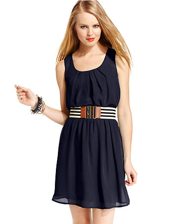 BCX Juniors Dress, Sleeveless Belted - Juniors Dresses - Macy's