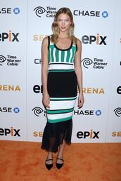 dress,midi,karlie kloss,stripes,striped dress,shoes