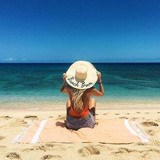 hat customized beach hat straw hat swimwear one piece swimsuit orange swimwear shorts denim shorts blue shorts beach towel beach summer
