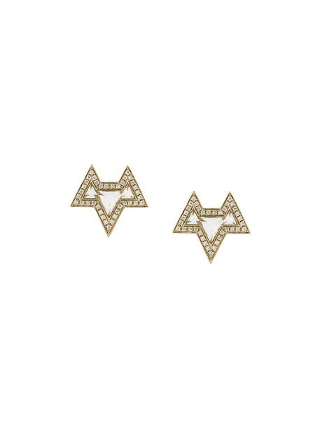 Noor Fares women earrings gold white jewels