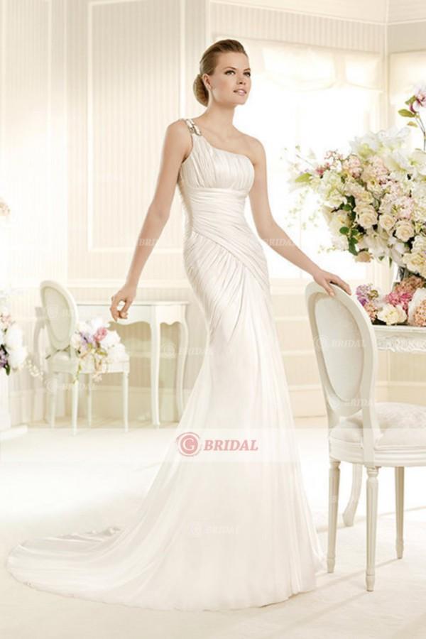 Stunning New Style Trumpet/Mermaid One Shoulder Court Train Chiffon Wedding Dress