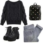 shoes,boots,black,boot,heel,platform shoes,bag,jeans,sweater
