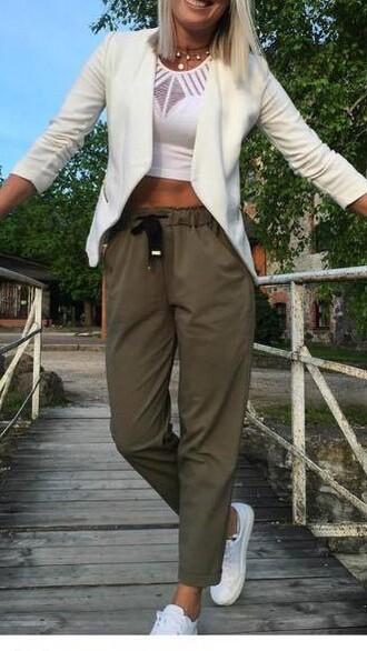 pants khaki pants high waisted trousers elasticated waistband