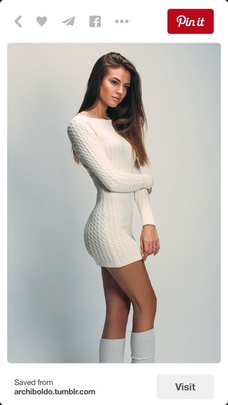 dress sweater tshirt dress cable knit white dress white sweater fall sweater winter sweater long sleeve dress long sleeves