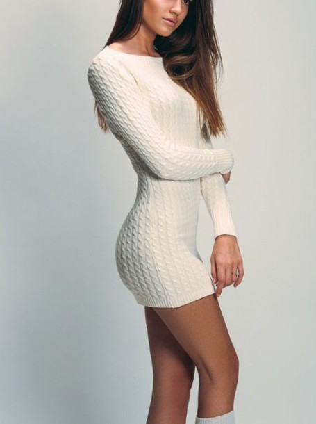 Dress sweater t shirt dress cable knit white dress for Dress shirt with sweater