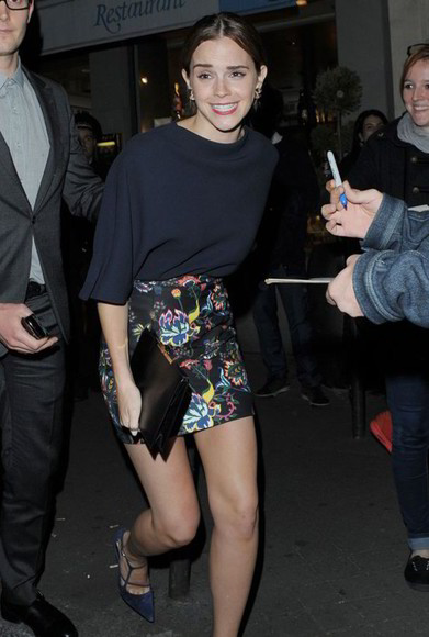 emma watson skirt dior fashion week paris mini skirt floral haute couture