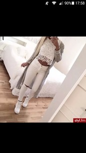 top,jeans,white,white jeans,skinny pants,super skinny jeans,damaged jeans,white timberlands,lace,lace top,white lace top,grey cardigan,lace crop top,shirt,shoes,t-shirt,cardigan,ripped jeans,beautiful jeans,blouse,pants,style,tank top,timberland,all white everything,whiteonwhite,white ripped jeans,white crop tops,crop tops,white top,long cardigan,tan,belly,white shoes,women's,instagram,belly button ring,dress,timberlands