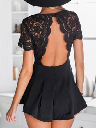 romper lace backless jumpsuit black girl girly girly wishlist lace romper cute open back black romper shorts romper style