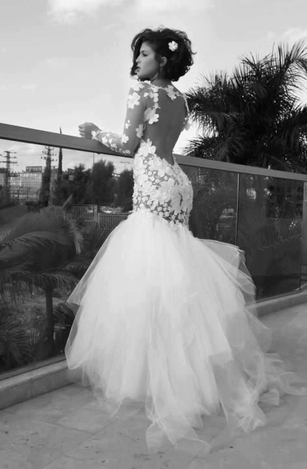 dress wedding dress white ortal shemer flowers lace nude dress lace dress coat lace dress mermaid prom dress flowers mermaid prom dress white dress open back dresses long sleeve dress backless dress