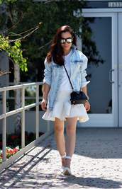 hallie daily,jacket,bag,skirt,t-shirt,sunglasses,shoes