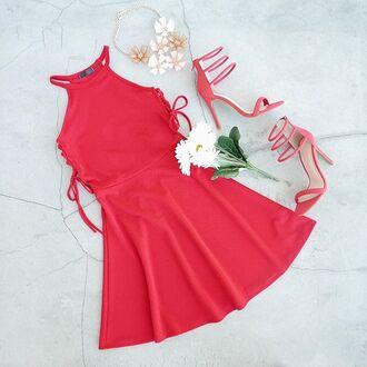 dress red dress skater skirt skater dress lace up fit and flare dress valentines day v day gojane