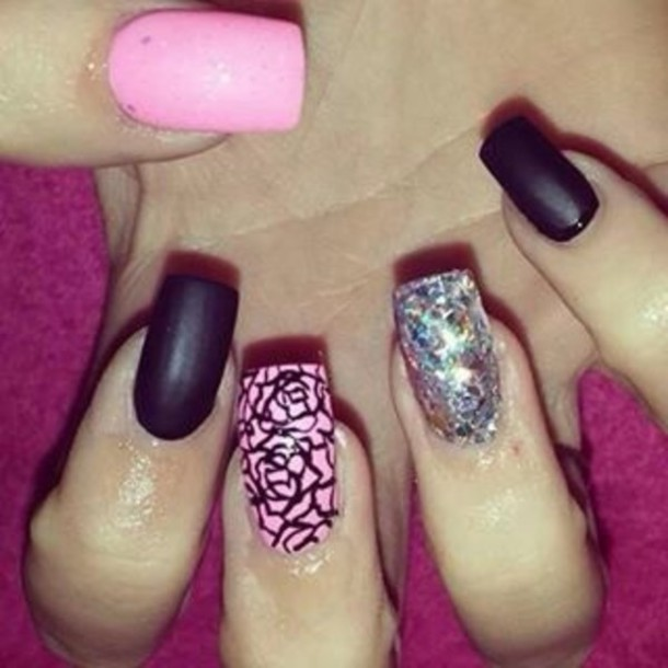 Black Nail Polish With Pink Glitter Nail Polish Pink Black