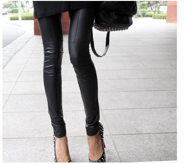 Stretchy leather leggings