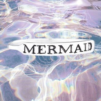 mermaid silver silver ring bracelets silver jewelry sea creatures sea grunge accessory soft grunge