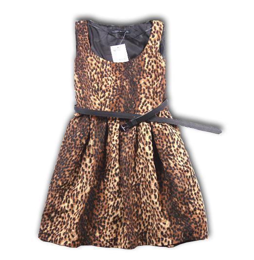 Fashion leopard vest dress with belt