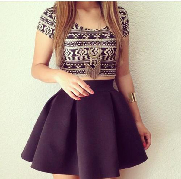 shirt skirt blouse jacket jewels dress tank top top half shirt black skirt and crop top nice look dressed up sweet aztec striped black and white aztec crop top t-shirt printed crop top gold print designed crop cute tribal pattern black and white crop tops black skater skirt cute shirt scuba skirt pleated skirt mini skirt
