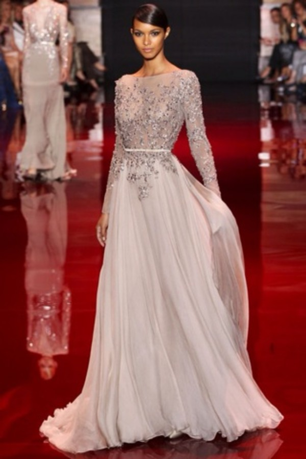 dress home accessory long sleeved maxi dress long sleeve dress long prom dress wedding dress sparkly dress white lace couture dress elie saab embellished dress prom dress elie saab long dress silver wow diamond dress nude maxi dress