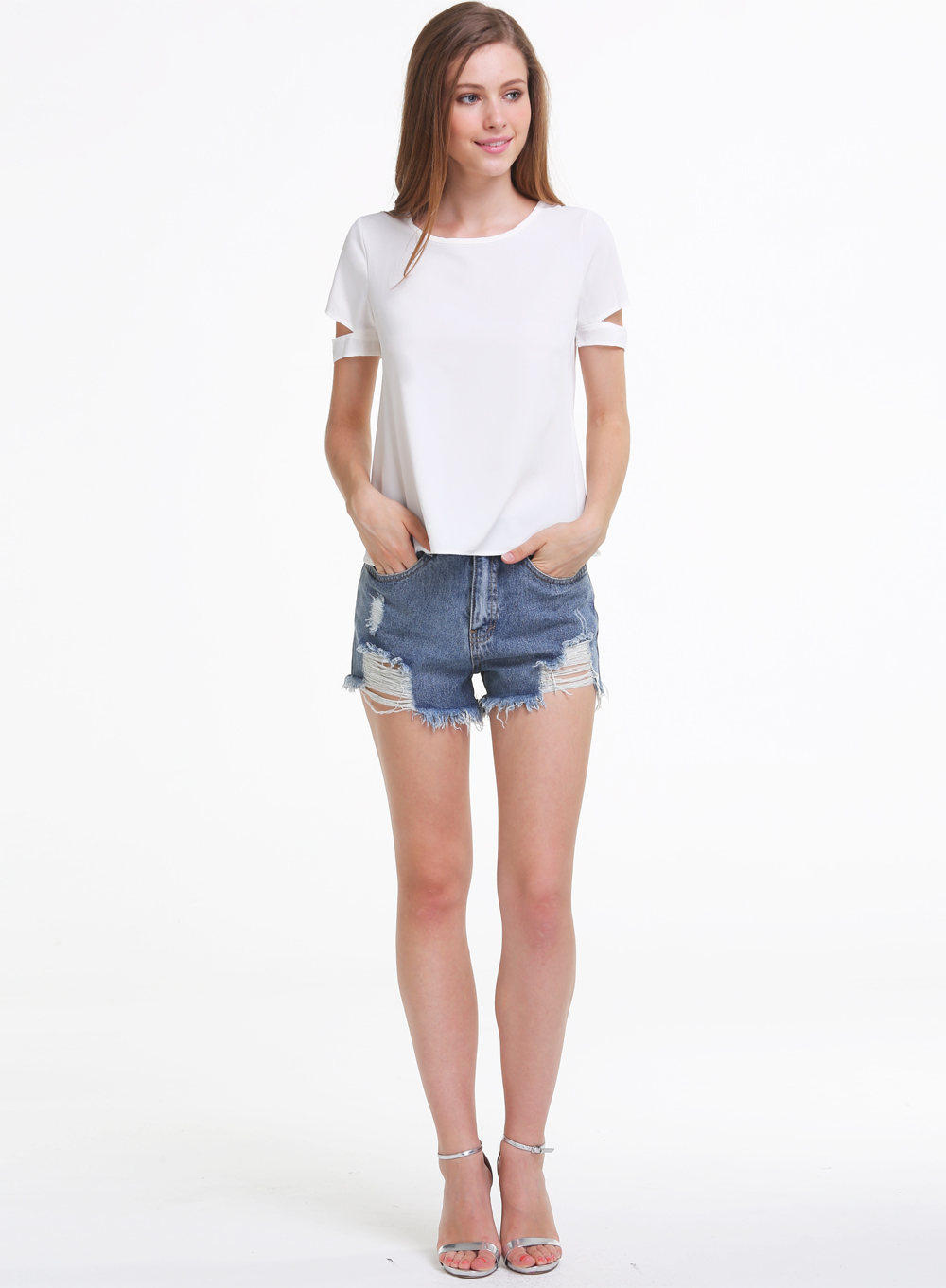 Blusa gasa Cut Out manga corta-blanco