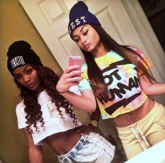 beanie india westbrooks tie dye crop tops shorts hair hair accessory iphone t-shirt shirt