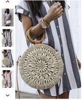 bag,tan,tan purse,circular bag,circle,circle purse,straw bag,beaded bag,purse,brown,boho bag,beach,rattan,bead,beaded,shell,circle bag