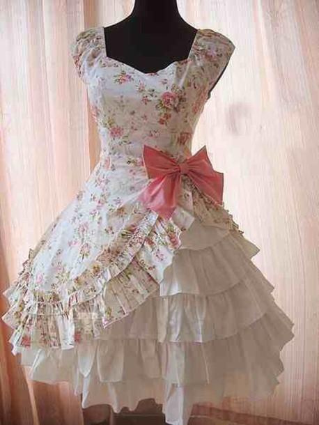 dress floral dress kawaii dress lolita dress white dress pink dress ruffle dress pink bow dress cute little flowy rosy pink bow dress white bow dress