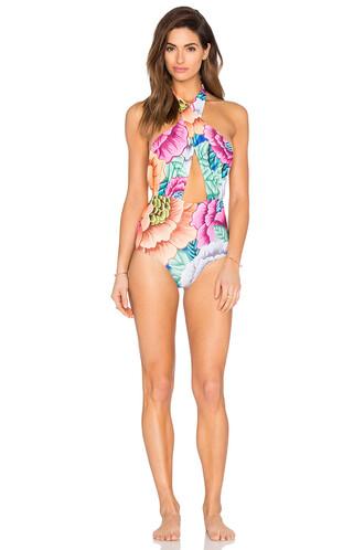 one piece swimsuit cross blue