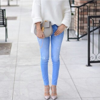 jeans valentino shoes bag blue gold white pants