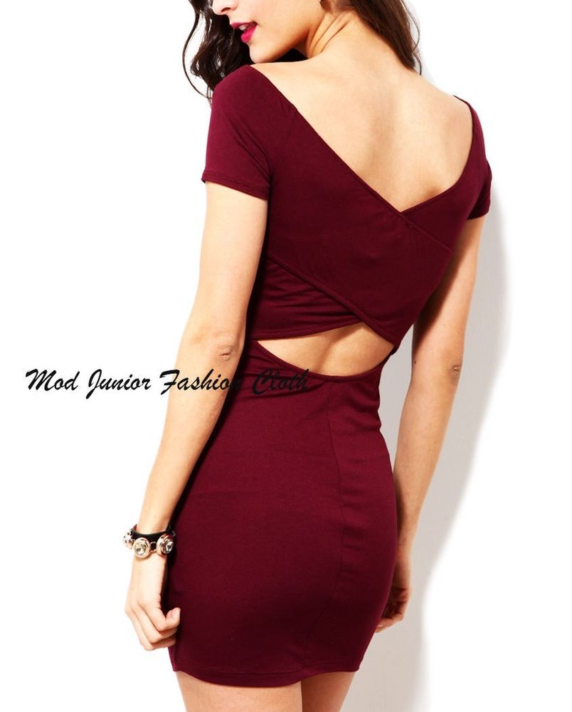LARGE CRISS CROSS PLUNGING BACK SHORT SLEEVE BURGUNDY BODYCON DRESS