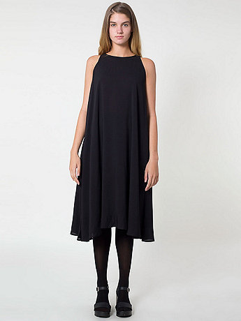 Rayon Challis Sleeveless Mid Length Tent Dress | American Apparel