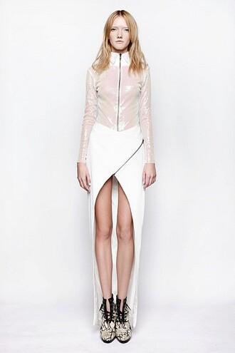 skirt white long asymmetrical zip clothes